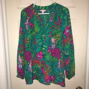 Lilly Pulitzer Elsa Silk Blouse Women's Sz L